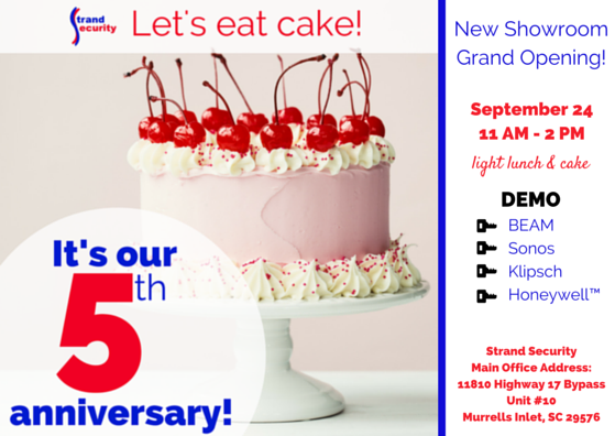 We are celebrating 5 years in business! Strand security invites you to come celebrate on September 24.