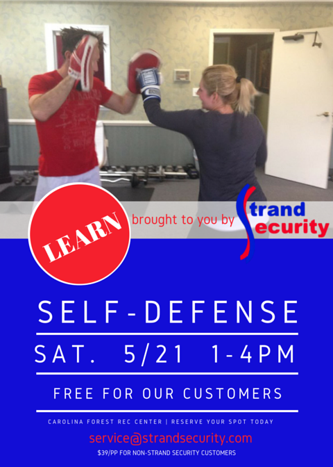 Learn how to defend yourself! Sign up for the Strand Security Self-Defense Class in Myrtle Beach on May 21, 2016