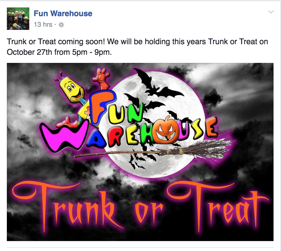 Check out this Trunk or Treat event in Myrtle Beach at the Fun Warehouse on October 27.