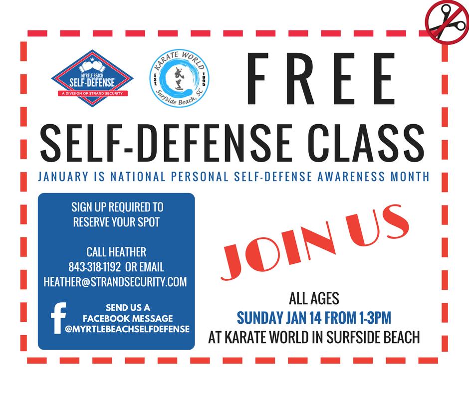 FREE self defense class Myrtle Beach